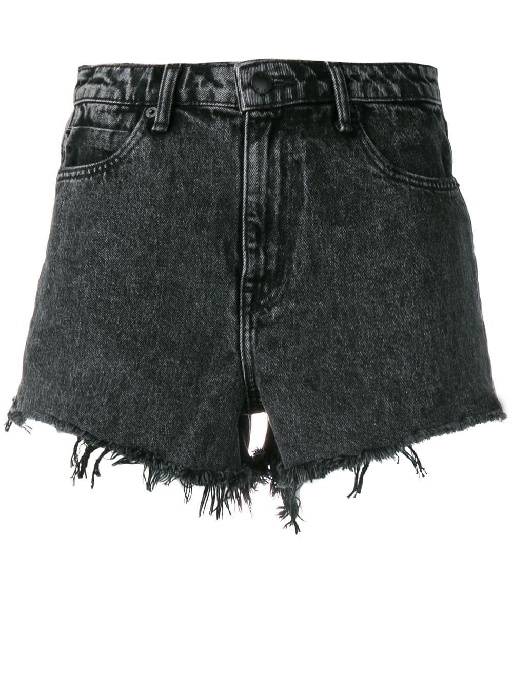 37b5da0f47 Alexander Wang Hybrid Bite Denim & Fleece Cutoff Shorts In Black ...