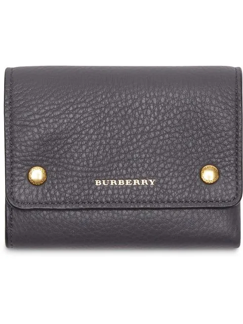 Burberry Small Leather Folding Wallet In Black