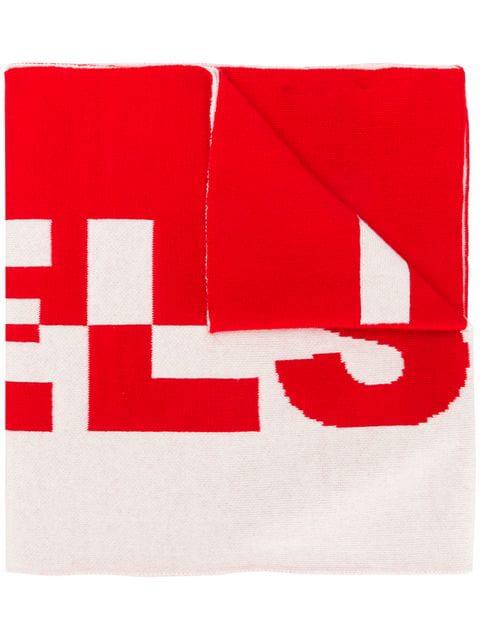 Belstaff Logo Knit Scarf In Red