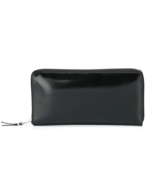 Comme Des GarÇons Black Zip Wallet With Mirrored Lining