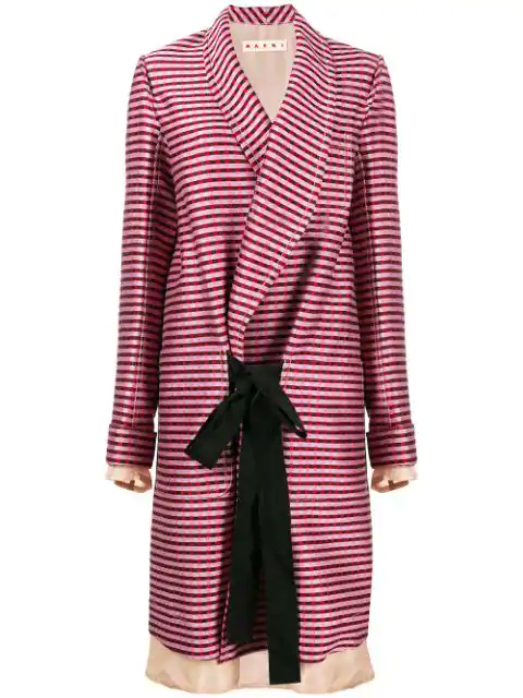 Marni Oversized Striped Coat Multicolor In Pink