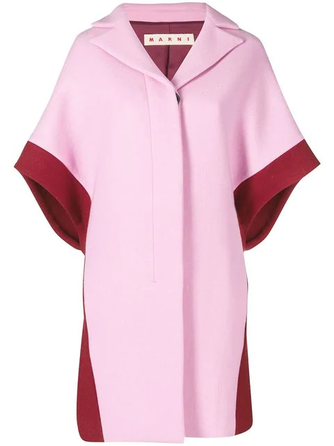 Marni Contrast Short-sleeve Coat In Pink
