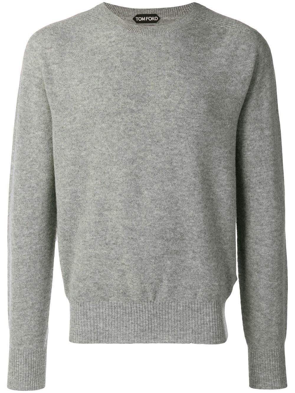 tom ford pullover mit rundem ausschnitt grau in grey. Black Bedroom Furniture Sets. Home Design Ideas