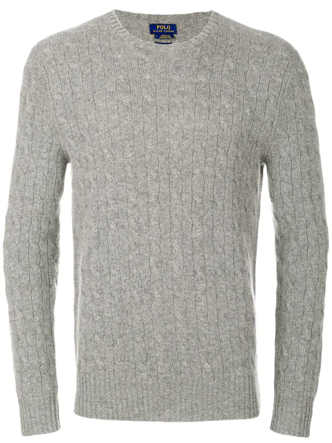 06728288c Polo Ralph Lauren Crew-Neck Cable-Knit Cashmere Sweater In Grey ...