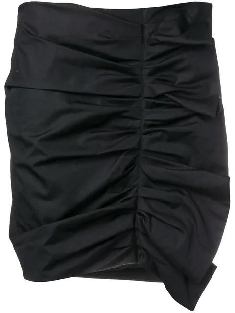 Victoria Victoria Beckham Ruched Mini Skirt In Black