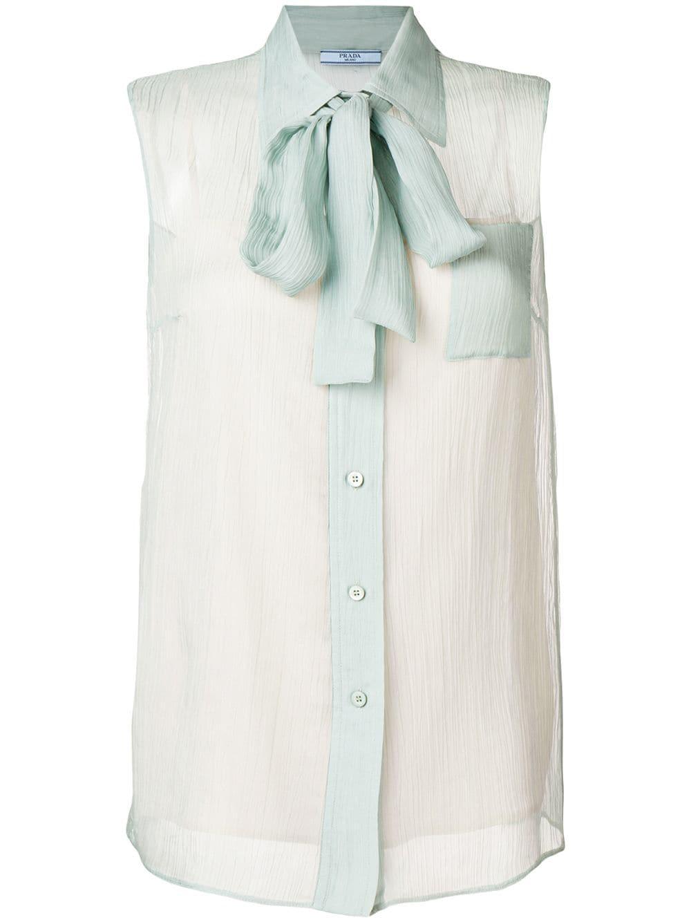 a90ec14e37663 Prada Crinkled Silk Chiffon Blouse In Blue