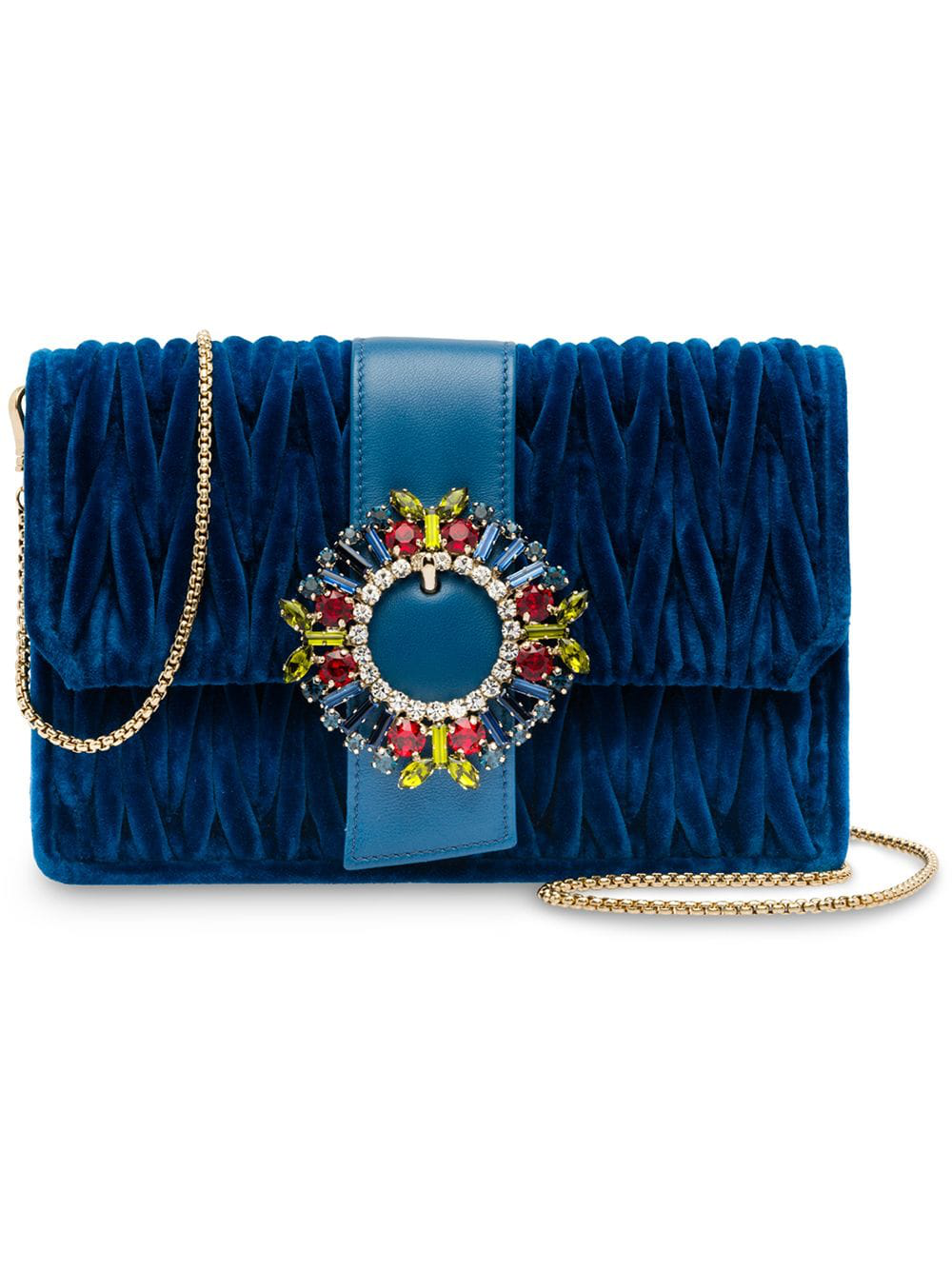d22195d5bd1 Miu Miu Matelassé Velvet Shoulder Bag - Blue