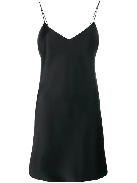 Saint Laurent Satin Mini Dress In Black