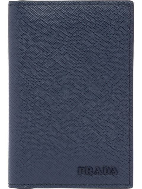 Prada Saffiano Leather Card Holder In Blue