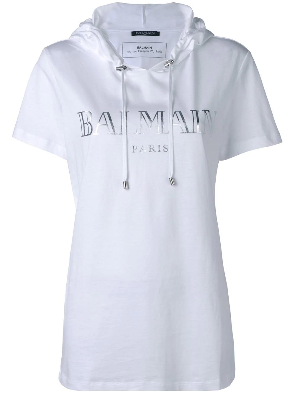 balmain t shirt mit kapuze wei in white modesens. Black Bedroom Furniture Sets. Home Design Ideas