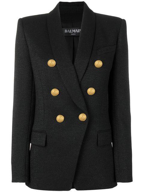 Balmain Glittery Wool Double-Breasted Blazer In Black