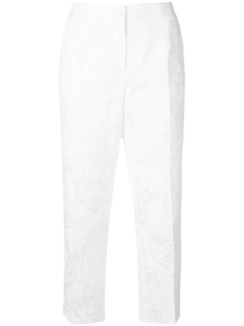 Dolce & Gabbana Cropped Jacquard Trousers In White