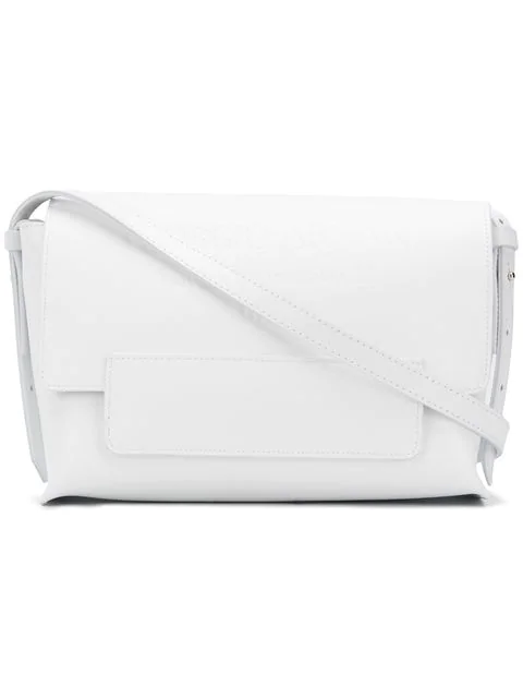 Giorgio Armani Embossed Logo Shoulder Bag In White