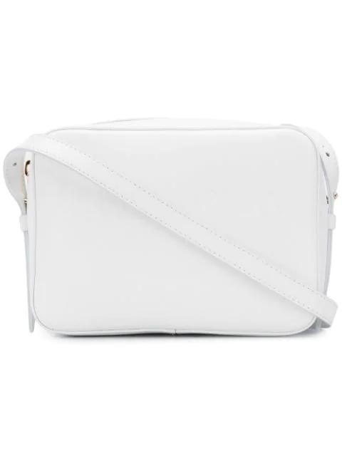 Giorgio Armani Embossed Logo Shoulder Bag In White