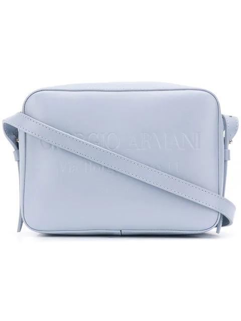 Giorgio Armani Embossed Logo Shoulder Bag In Blue