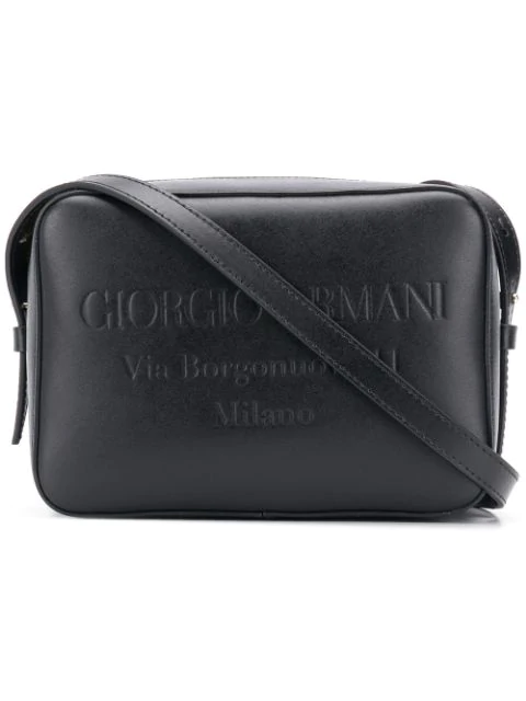 Giorgio Armani Embossed Logo Shoulder Bag In Black