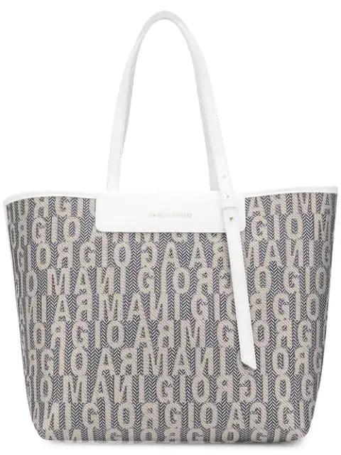Giorgio Armani Logo Tote Bag In Neutrals