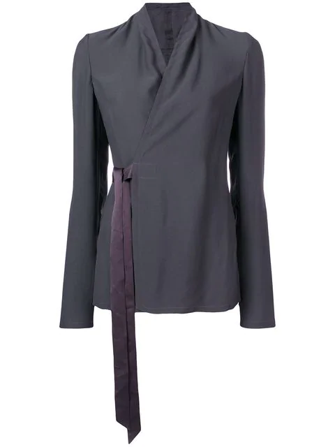 Rick Owens Wrapped-Front Blouse In Grey