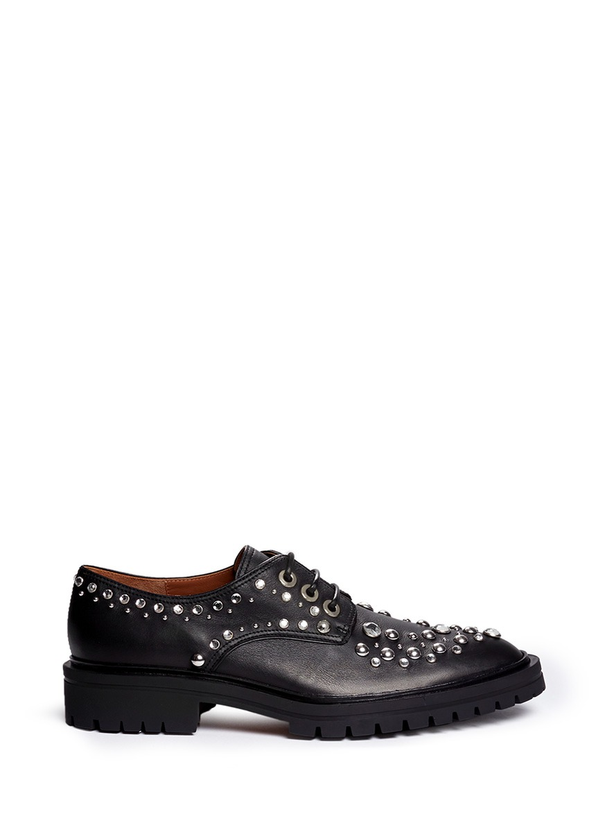 Givenchy Woman Derby Leather Brogues With Silver Eyelets And Studs Black