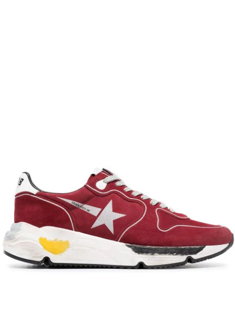 Golden Goose Running Sole Sneakers In Red Suede Calf Leather