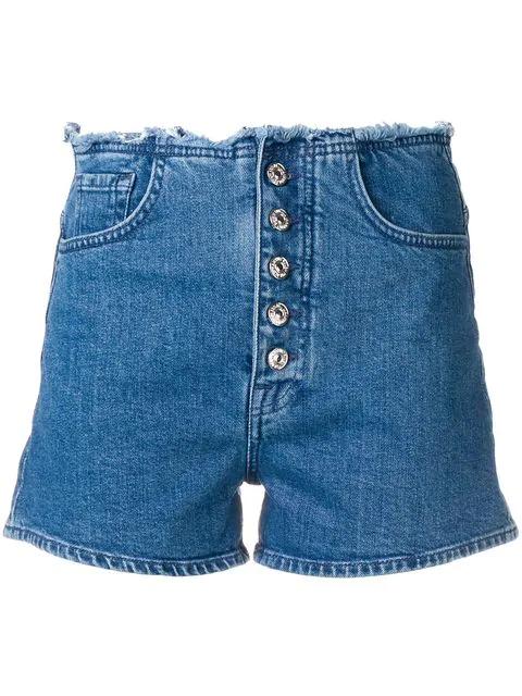 7 For All Mankind Frayed Waist Denim Shorts In Blue