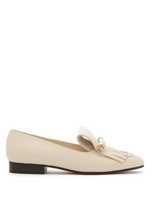 Valentino Uptown Fringed Leather Loafers In Neutrals