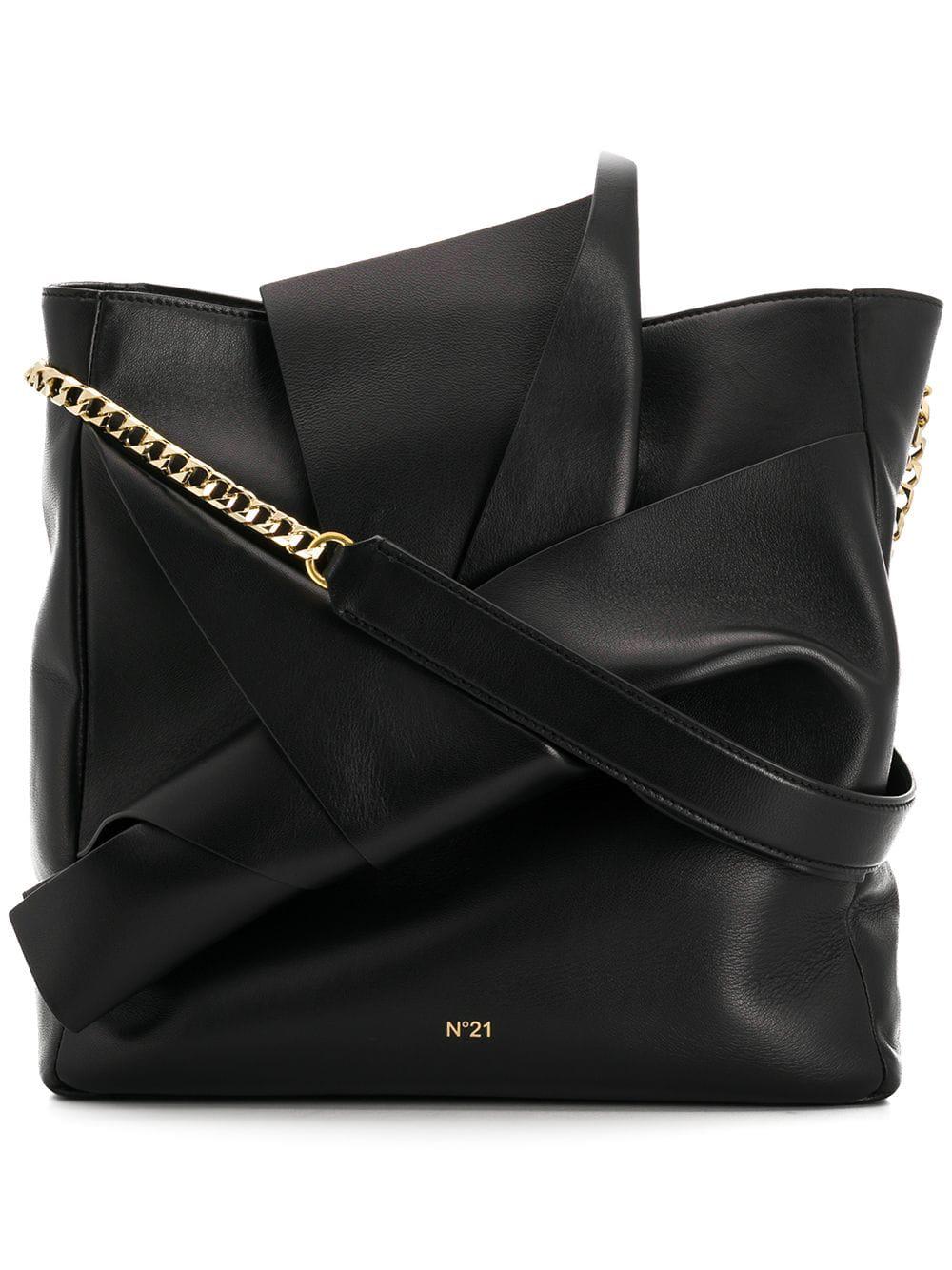N°21 Nº21 Bow Embellished Shoulder Bag - Black