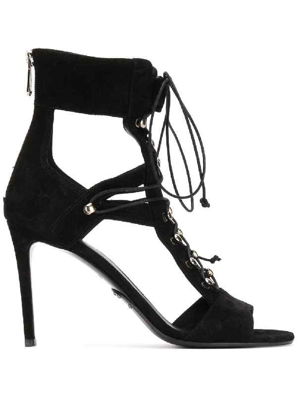 b2d853c63b8e Balmain Jody Lace-Up Suede   Mesh Cutout Sandals In Black