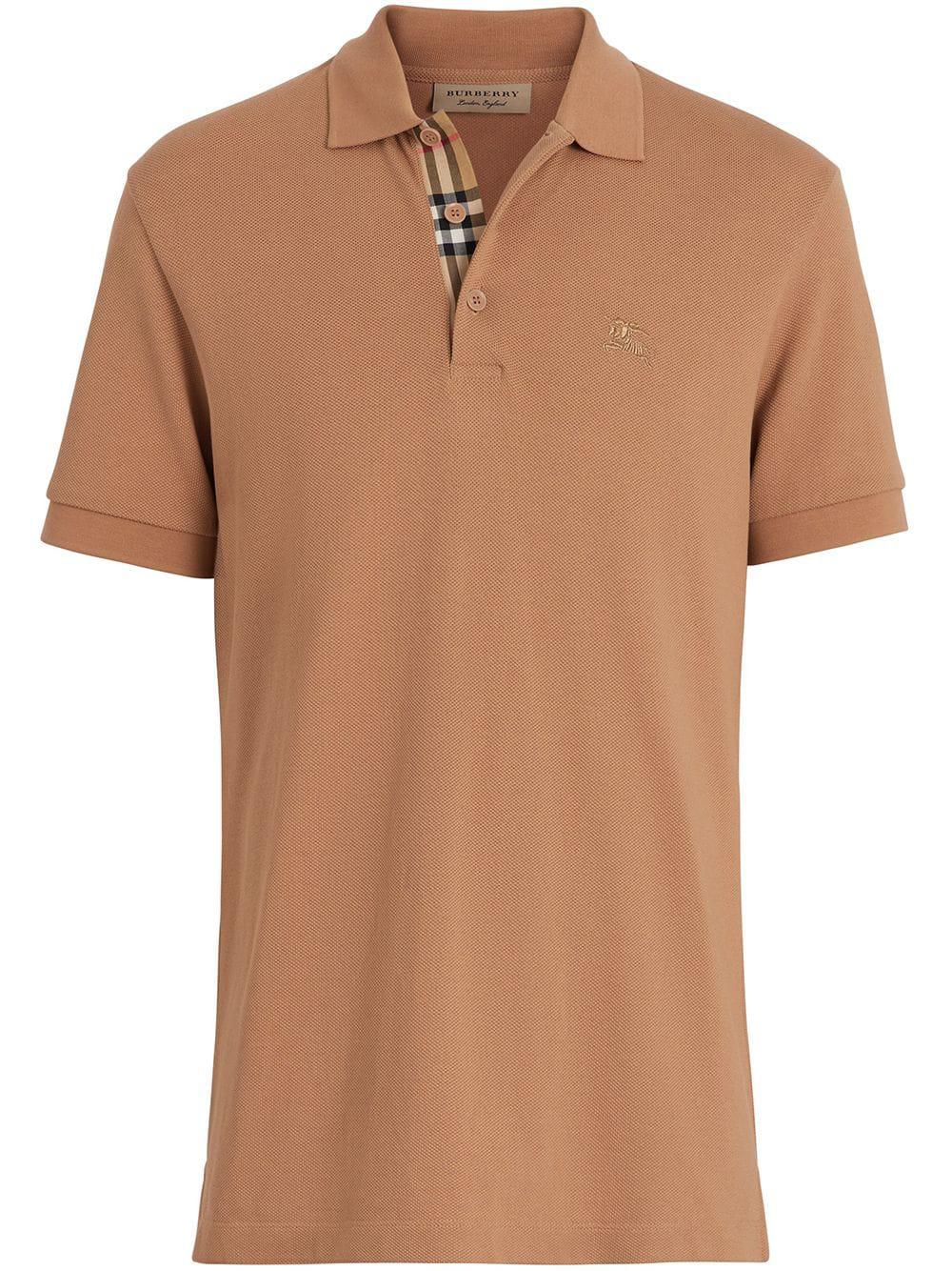 d29c6258bf9b6 Burberry Check Placket Polo Shirt - Brown