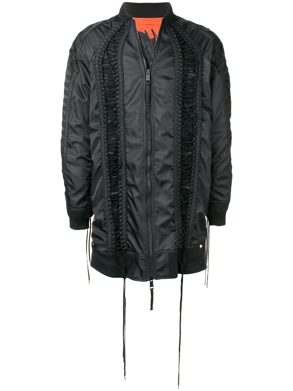 Ktz Long Lace Bomber Jacket - Black In Black                                                    Solid Brown Lenses