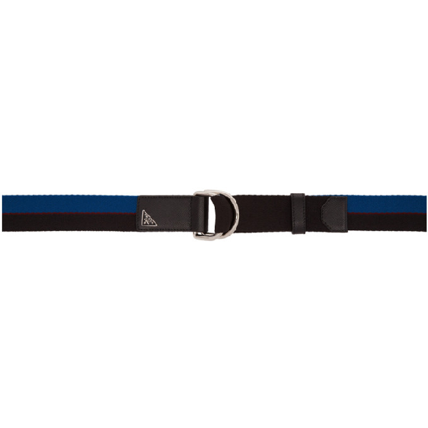 Prada Black & Blue Triangle Nastro Belt