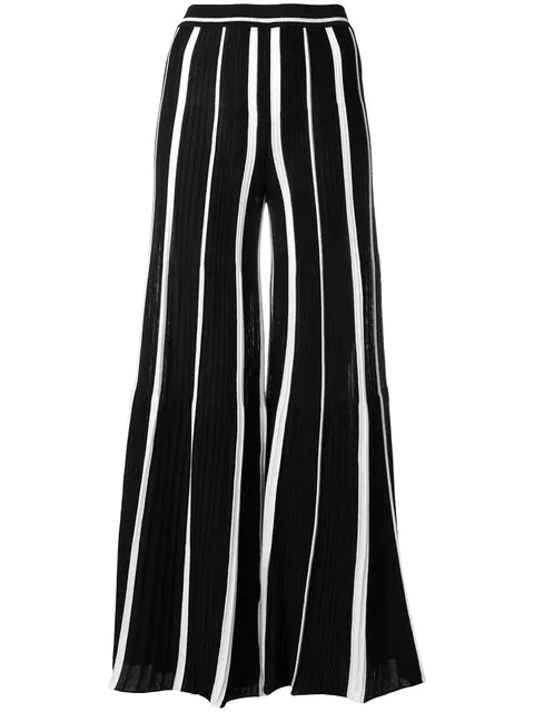 Missoni Striped Ribbed Cotton Wide-Leg Pants In Black