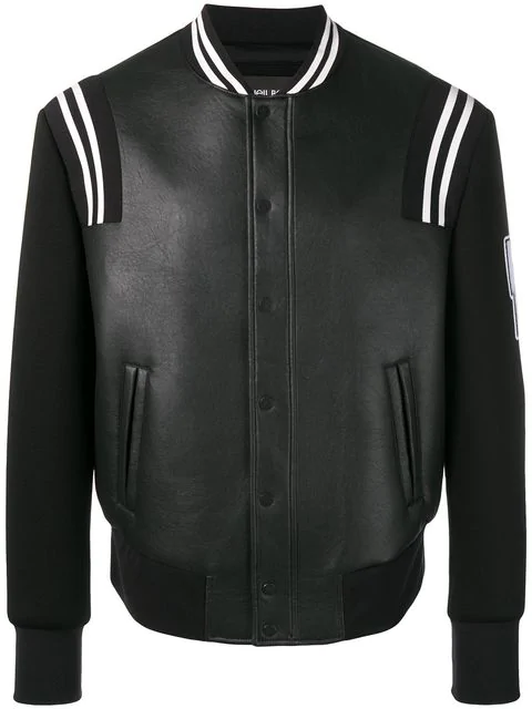 Neil Barrett Logo Sleeve Varsity Jacket In 524 Black White
