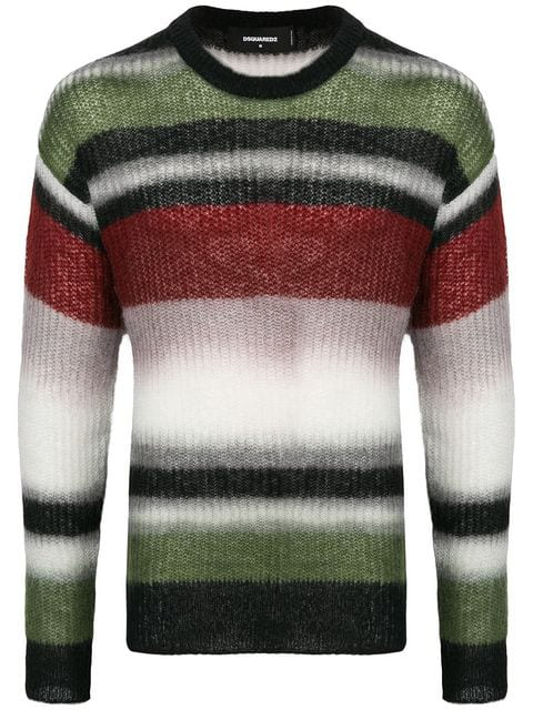 Dsquared2 Striped Wool Blend Knit Sweater In Green