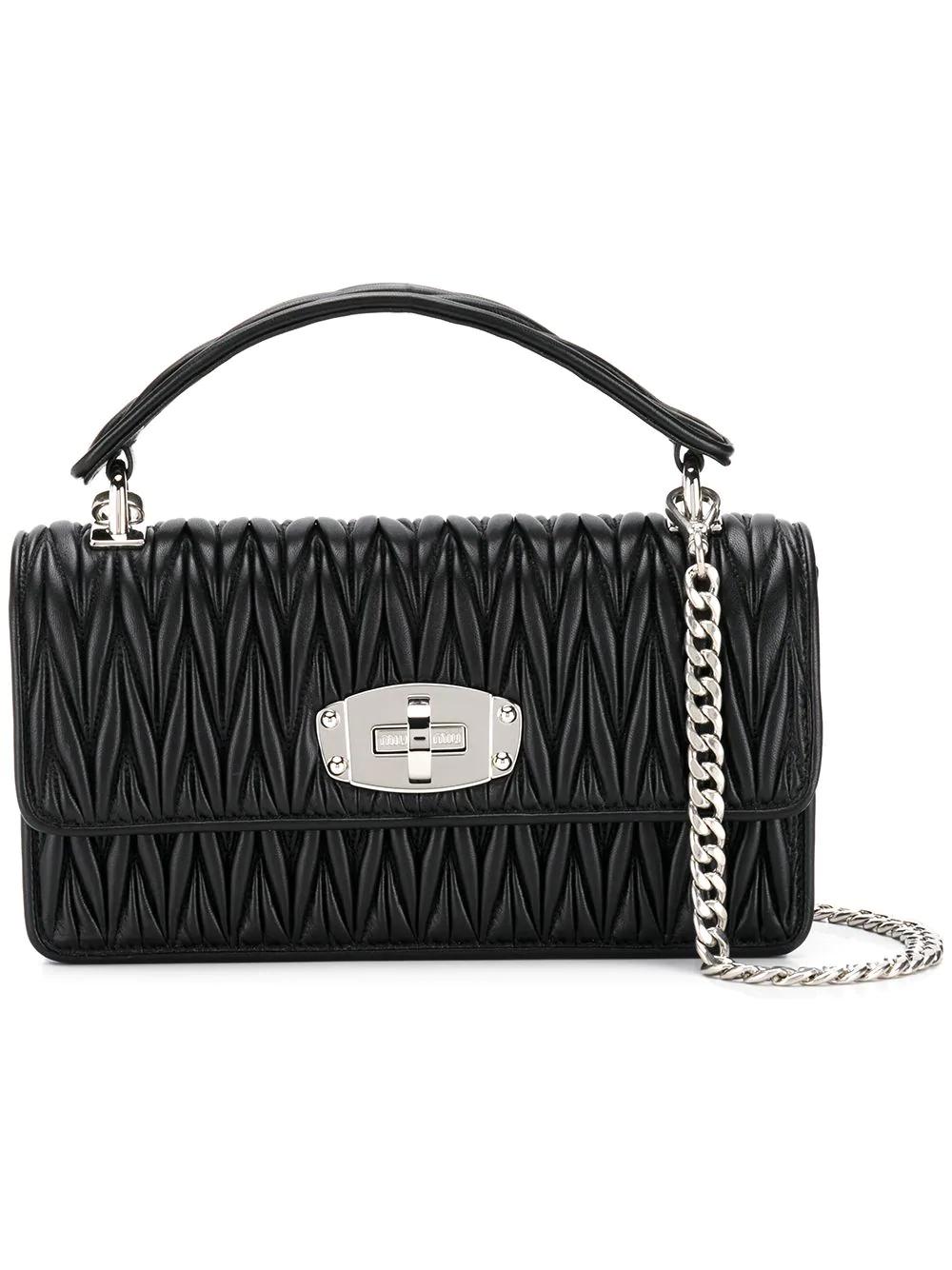 3328012b1b9f Miu Miu Cleo Matelassé Shoulder Bag - Black