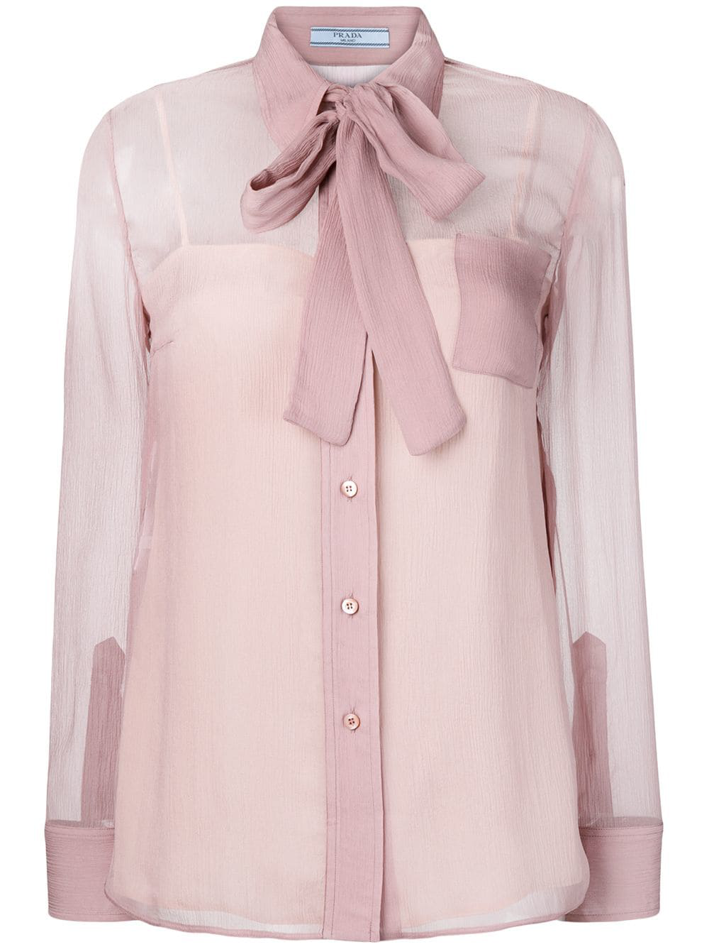 963533c2984b7 Pink silk bow detail shirt from Prada featuring a pointed collar