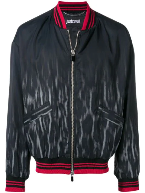 Just Cavalli Faded Leopard Bomber Jacket In Blue