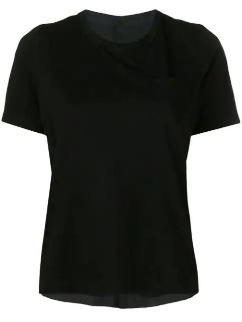 Sacai Hybrid T-shirt Blouse In Black