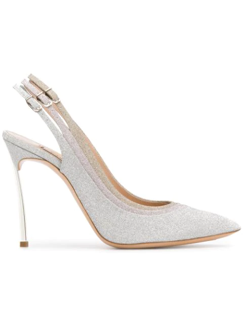 Casadei Stacked Buckle Glitter Pumps In Silver
