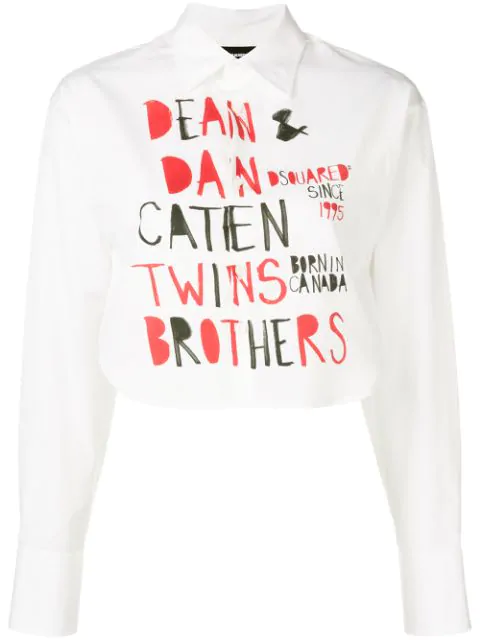 Dsquared2 Printed Cropped Shirt In Black