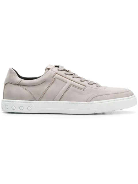 Tod's Grey Embossed Logo Leather Sneakers In B201 Grey
