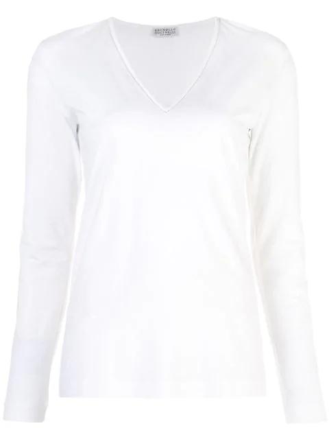 Brunello Cucinelli V-neck Sweater In White