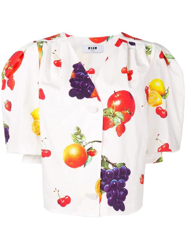 cd47673c19f Msgm Fruit Print Cropped Shirt In White | ModeSens