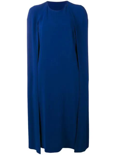 Stella Mccartney Crepe Cape Dress In Blue