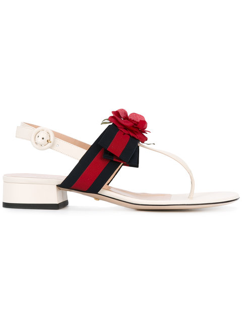 9c552720adad Gucci Web And Leather Sandal In White
