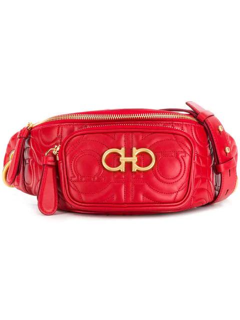 Salvatore Ferragamo Gancini Belt Bag In Red