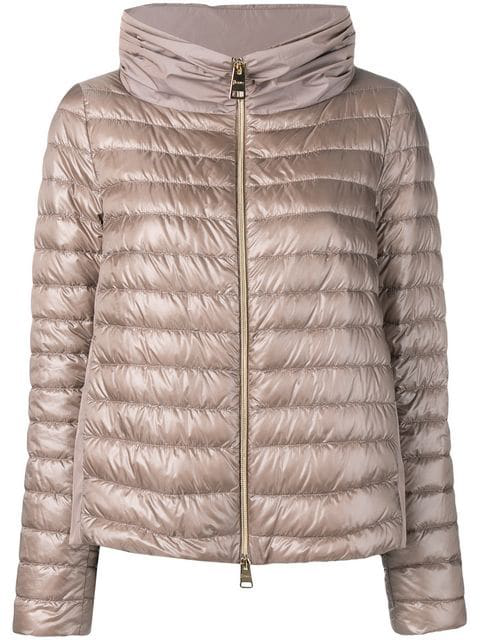 Herno Contrast Panels Padded Jacket In Neutrals