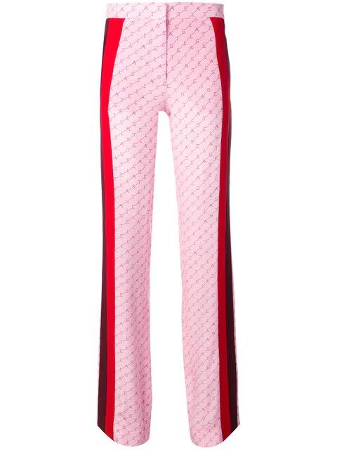 Stella Mccartney Dana Monogrammed Wide-Leg Silk Trousers In Pink