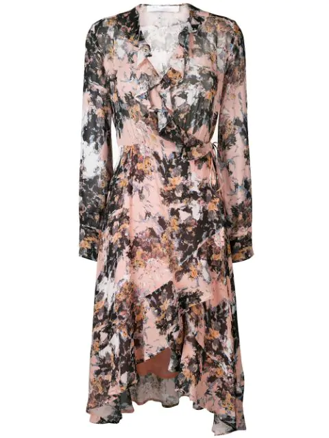 Iro Garden Print Ruffle Midi Dress In Pink