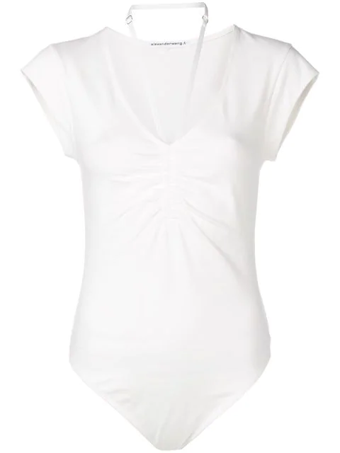 T By Alexander Wang Strappy Neck Bodysuit In White